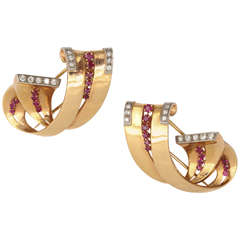 Pair of Scroll Shaped Ruby & Diamond Clips