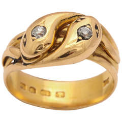 Hallmarked Double Headed Gold Serpent Ring