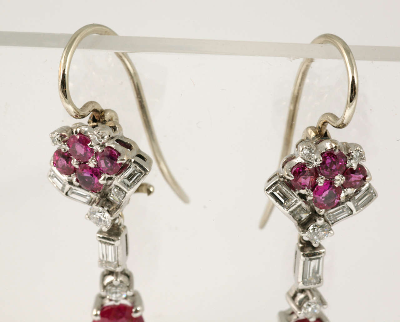 Ruby and Diamond Drop Earrings 4
