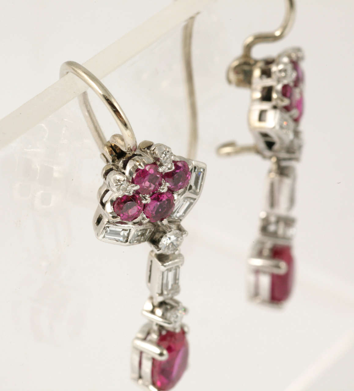 Ruby and Diamond Drop Earrings 5