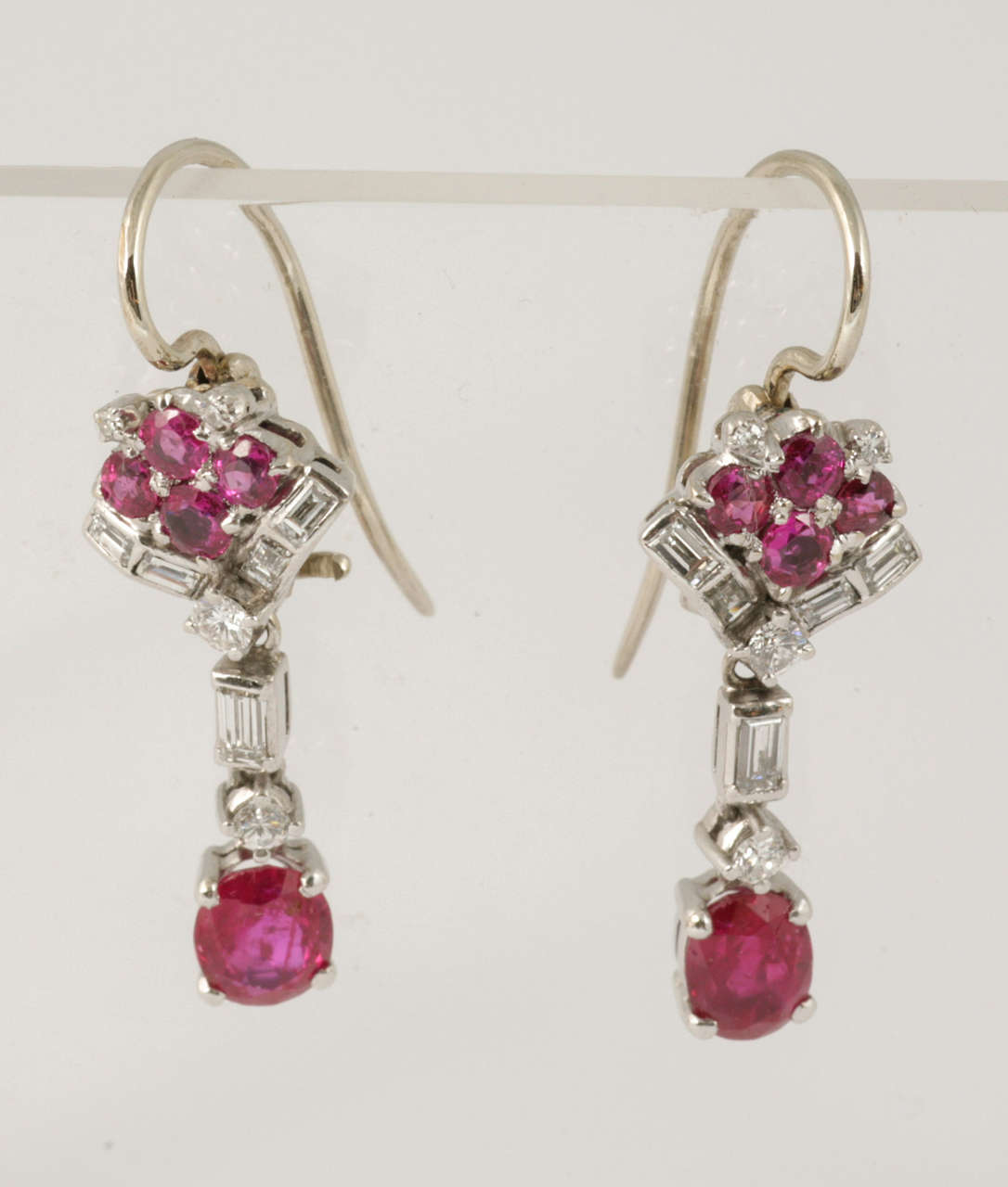 Ruby and Diamond Drop Earrings 6