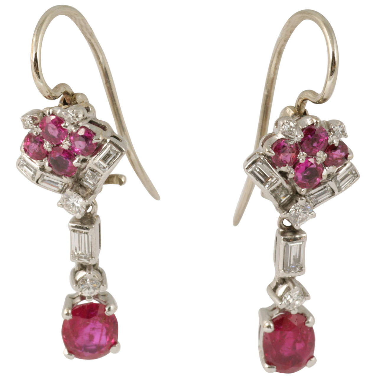 Ruby and Diamond Drop Earrings 1