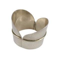 Vintage Wide Hammered Silver Cuff Bracelet