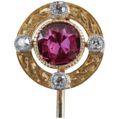 Late 19th Century Ruby Diamond Gold-Mounted Tiepin