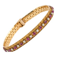 Vintage Bracelet in 18 Carat Gold, Burma Rubies & Diamonds, English circa 1965