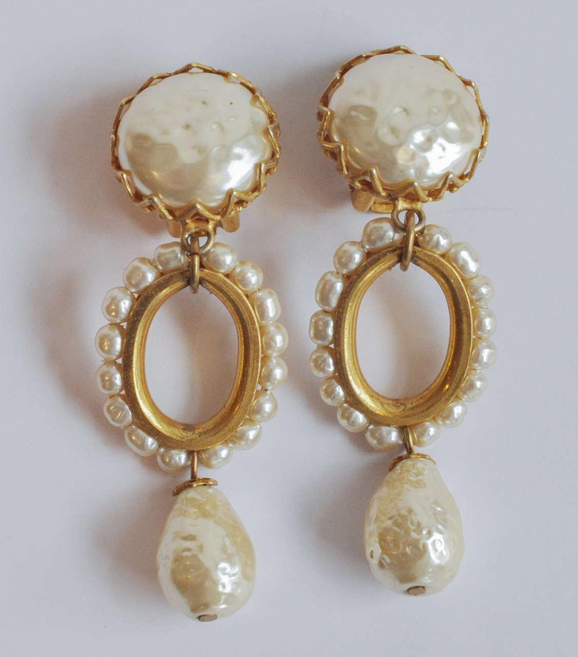 Miriam Haskell Pearl Drop Earrings 2