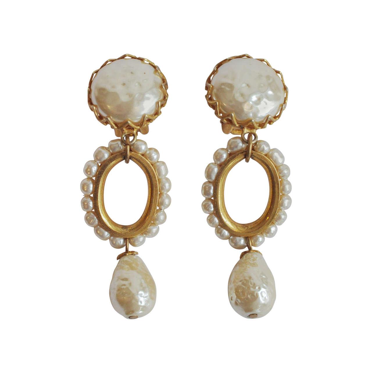 Miriam Haskell Pearl Drop Earrings 1