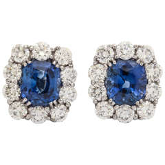 Fine quality Sapphire Diamond Gold Earrings