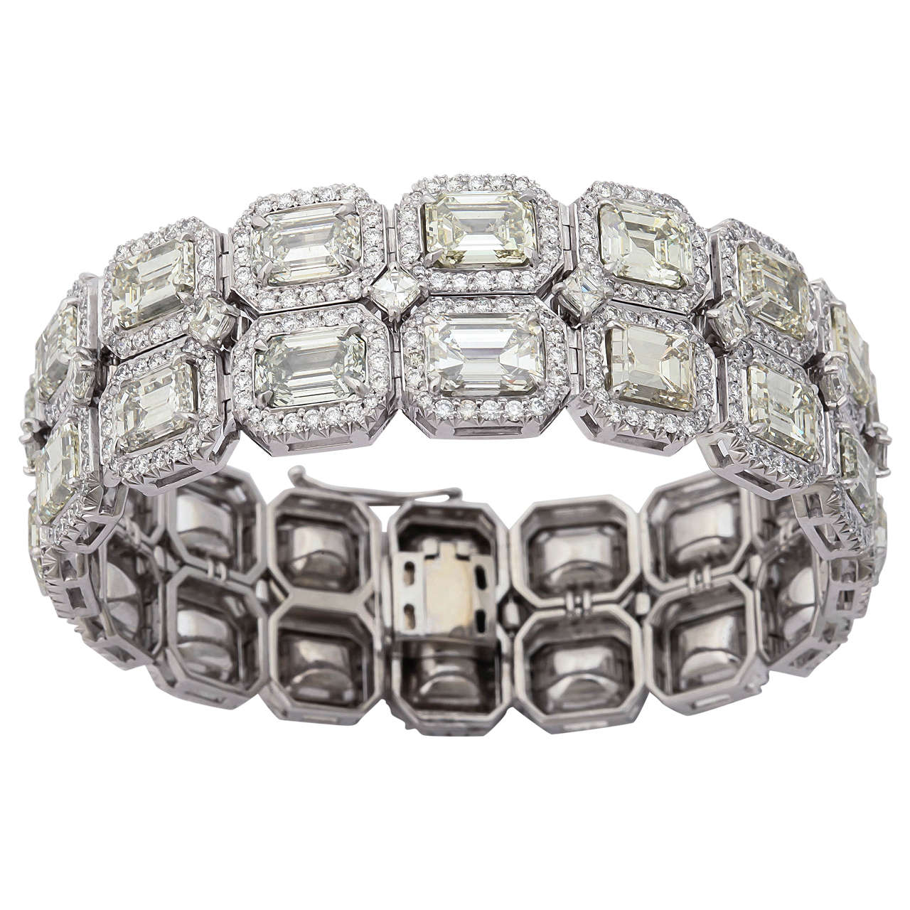 Stunning Emerald Cut Diamond Platinum Link Bracelet