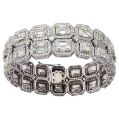 Estate Emerald Cut Diamond Platinum Link Bracelet