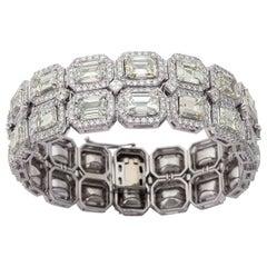 Estate Emerald Cut Diamond Platinum Link Bracelet
