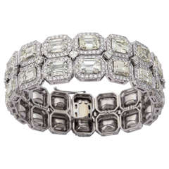 Stunning Emerald Cut Diamond Platinum Link Bracelet
