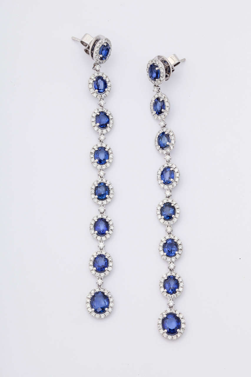 This absolutely stunning sapphire and diamond earrings, features 25 carats of royal blue sapphires and 4.50 carats of diamonds. Set in 18KT white gold. 