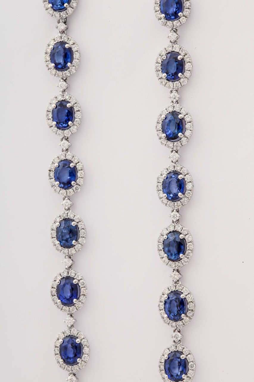 Stunning Blue Sapphire Diamond Gold Drop earrings For Sale 1