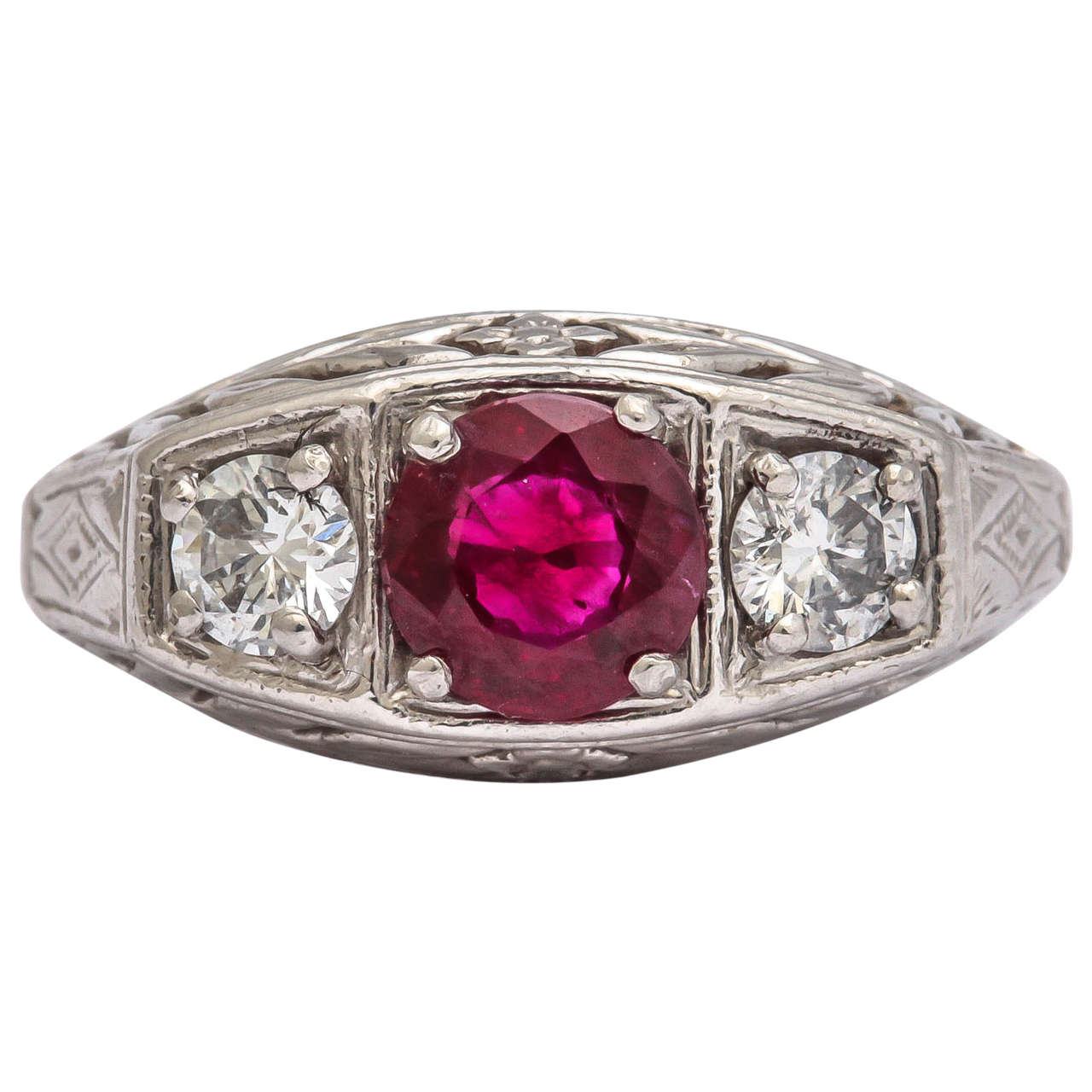 Classical Ruby Diamond White Gold Ring
