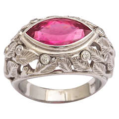 Hot Pink Tourmaline Diamond Gold Carved Leaf Ring