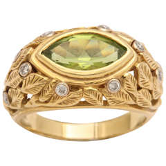 Peridot Marquise Carved Leaf Design Ring