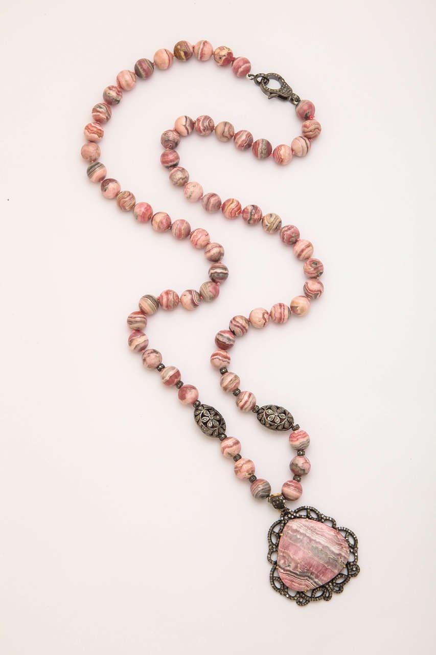 Stunning Long Rhodochrosite Bead Pendant Necklace 2