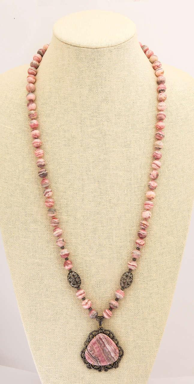 Stunning Long Rhodochrosite Bead Pendant Necklace 3