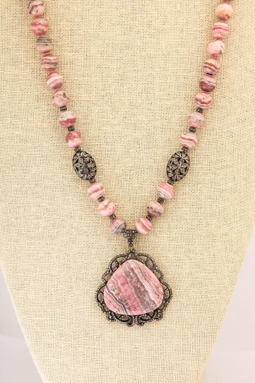 Stunning Long Rhodochrosite Bead Pendant Necklace 4