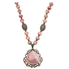 Stunning Long Rhodochrosite Bead Pendant Necklace