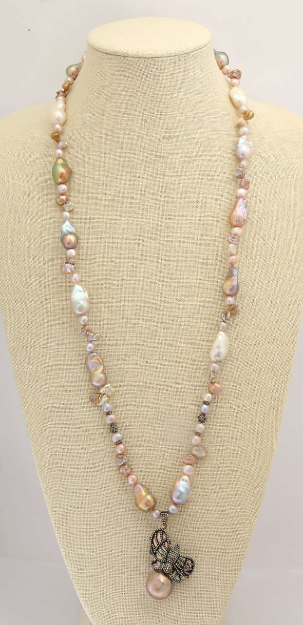 Unusual Pink And Gold Baroque Pearl Necklace 3