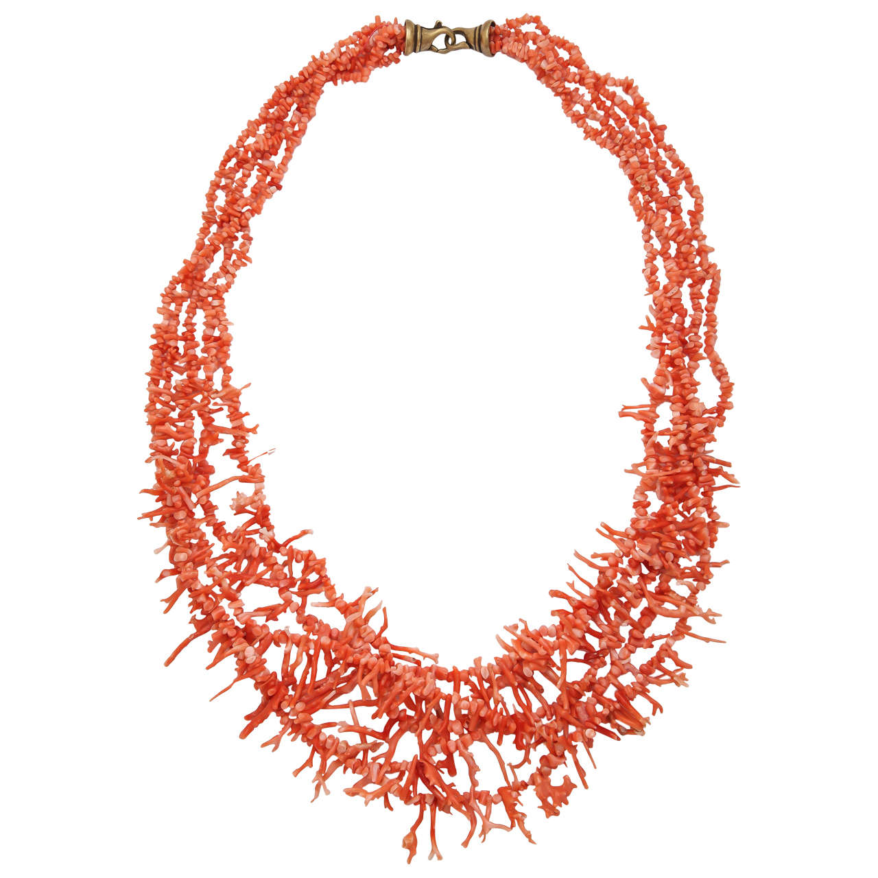 Natural Orange Branch Coral Necklace