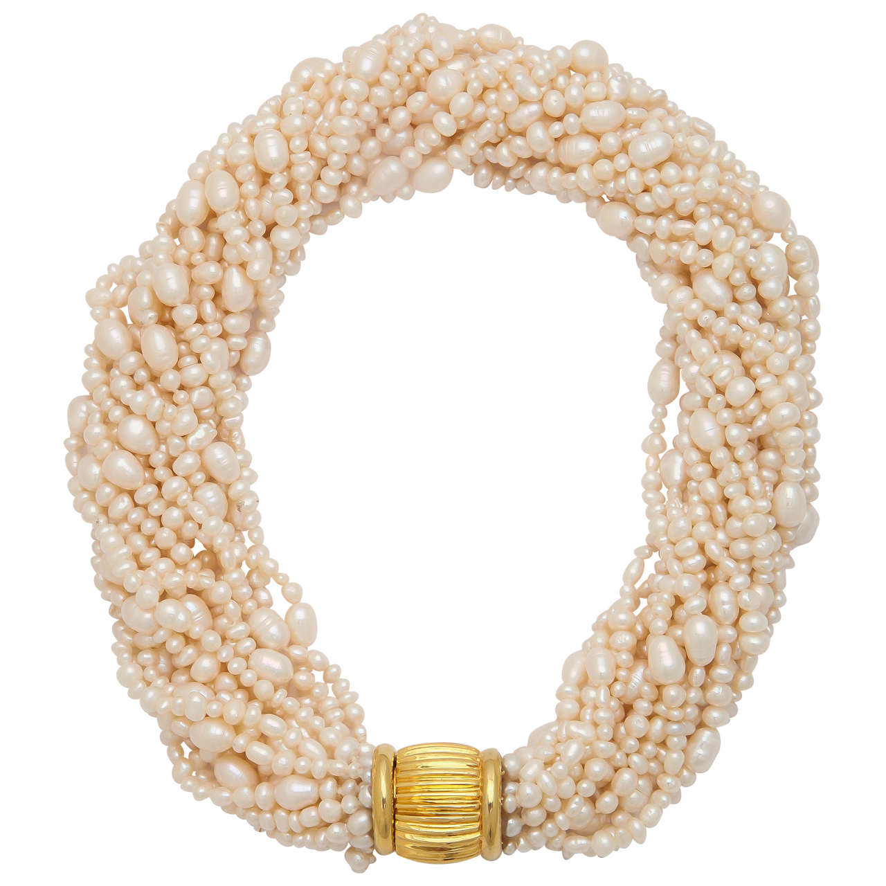 Elegant Pearl Torsade Necklace