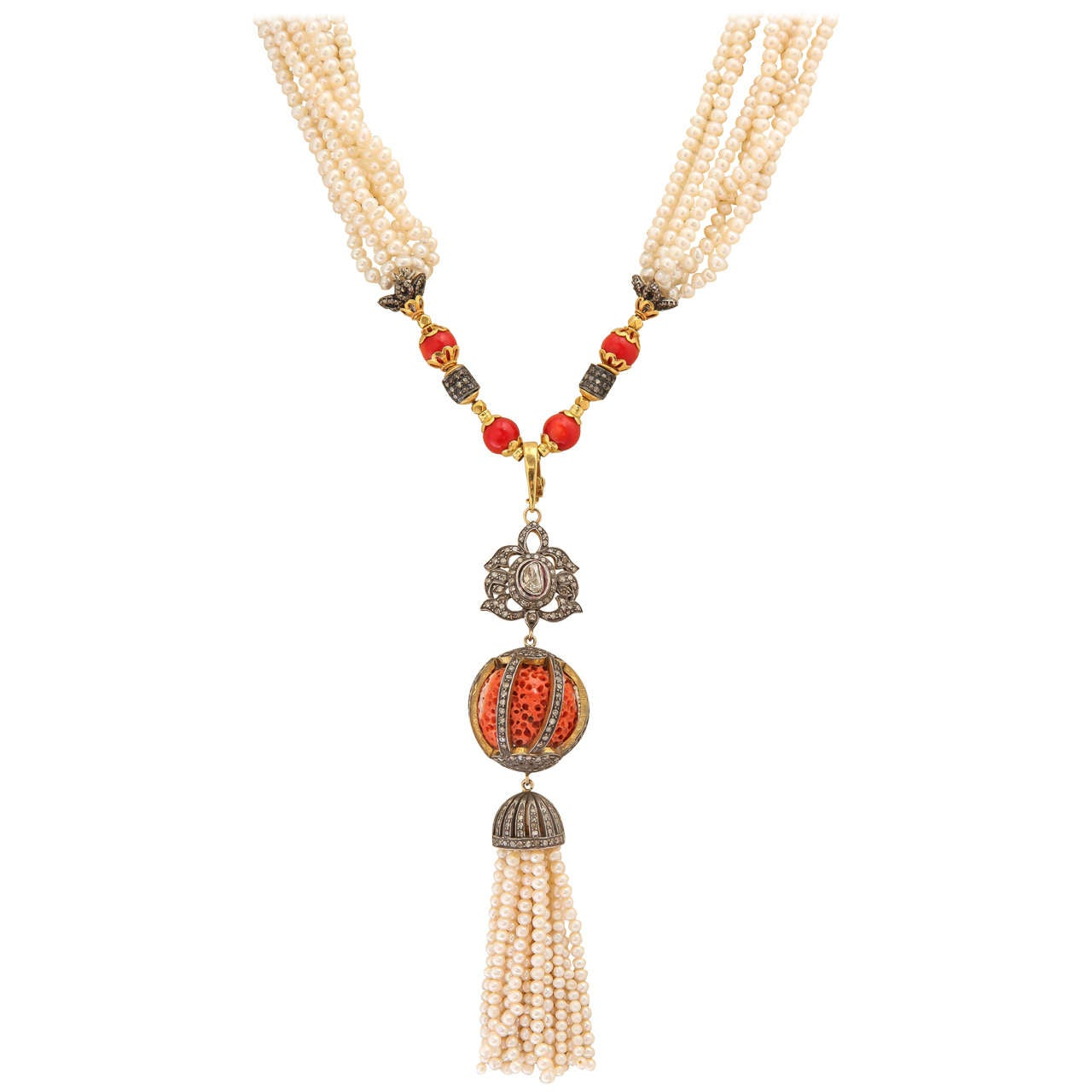 Regal Coral Pearl Diamond Tassel Necklace
