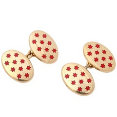 SHREVE AND CRUMP Heavy Gold And Red Enamel Cufflinks