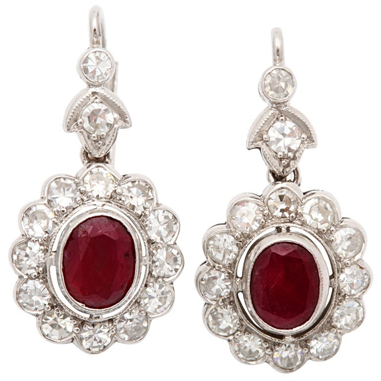 Art Deco Ruby And Diamond Moveable Cluster Earrings At 1stdibs