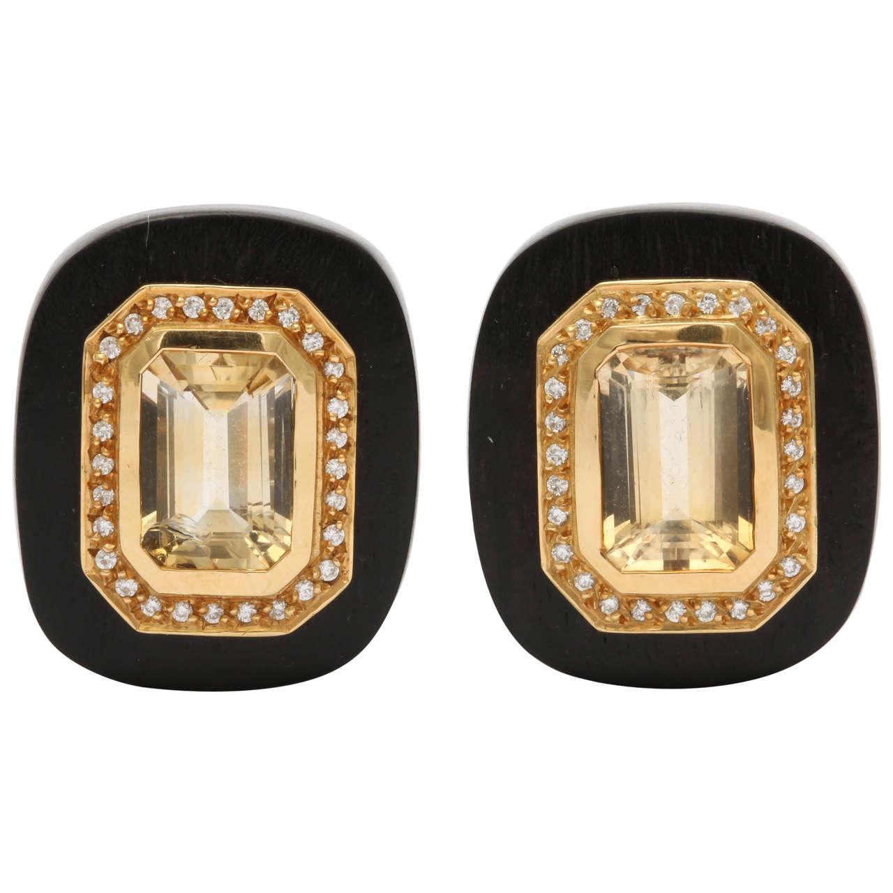 L'Oree du Bois Wood Citrine Diamond Earrings