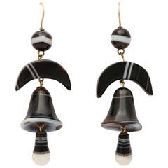 Victorian Striped Agate Bell Earrings