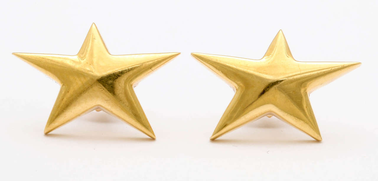 d6bfa20d9 18kt Yellow Gold Star Earrings made for Tiffany & Co. signed & dated ...