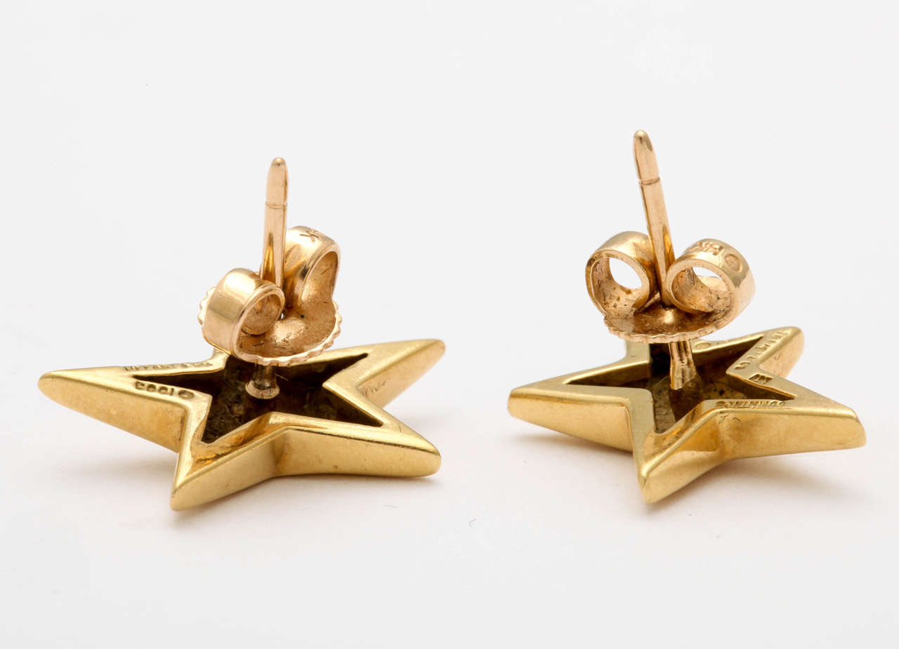 e382c07d8 18kt Yellow Gold Star Earrings made for Tiffany & Co. signed & dated 1995.  Tiffany & Co. Angela Cummings Star Earrings In Excellent Condition For Sale  In ...