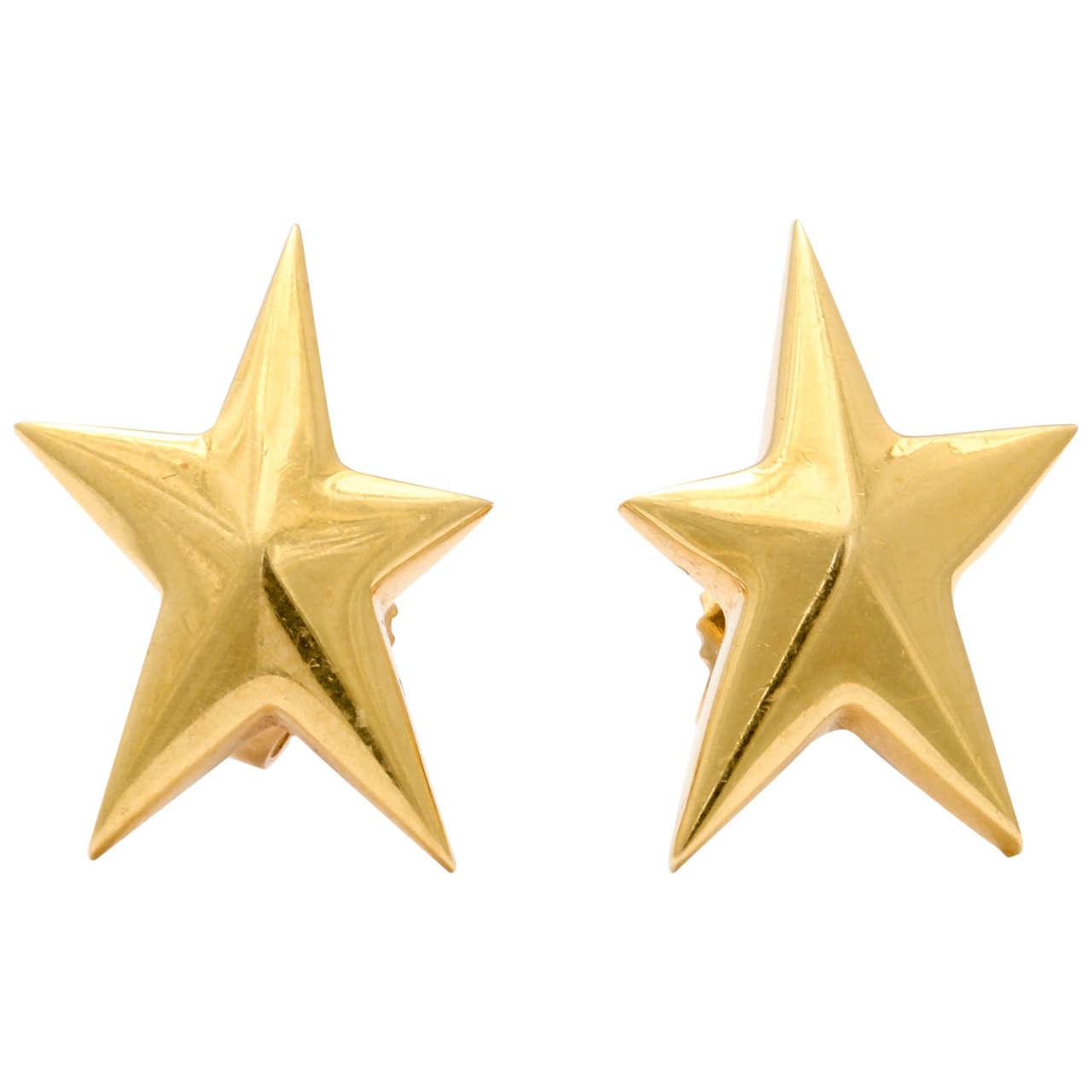 b6ea11f34 Tiffany & Co. Angela Cummings Star Earrings For Sale. 18kt Yellow Gold Star  Earrings made ...