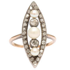 Edwardian Natural Pearl Diamond Silver Gold Engagement Ring