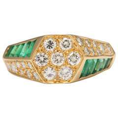 Emerald Diamond Criss Cross Cluster Ring