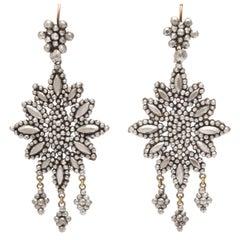 Opulent Georgian Cut Steel Girandole Earrings