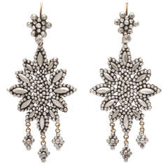 Opulent Georgian Cut Steel Girandole Earrings