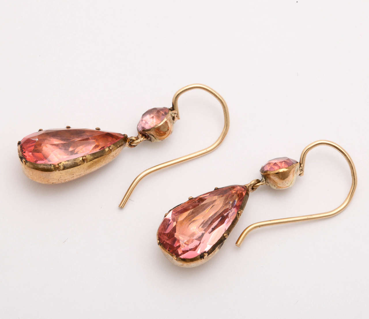 Rosey Saturated Pink Georgian Paste Earrings 3