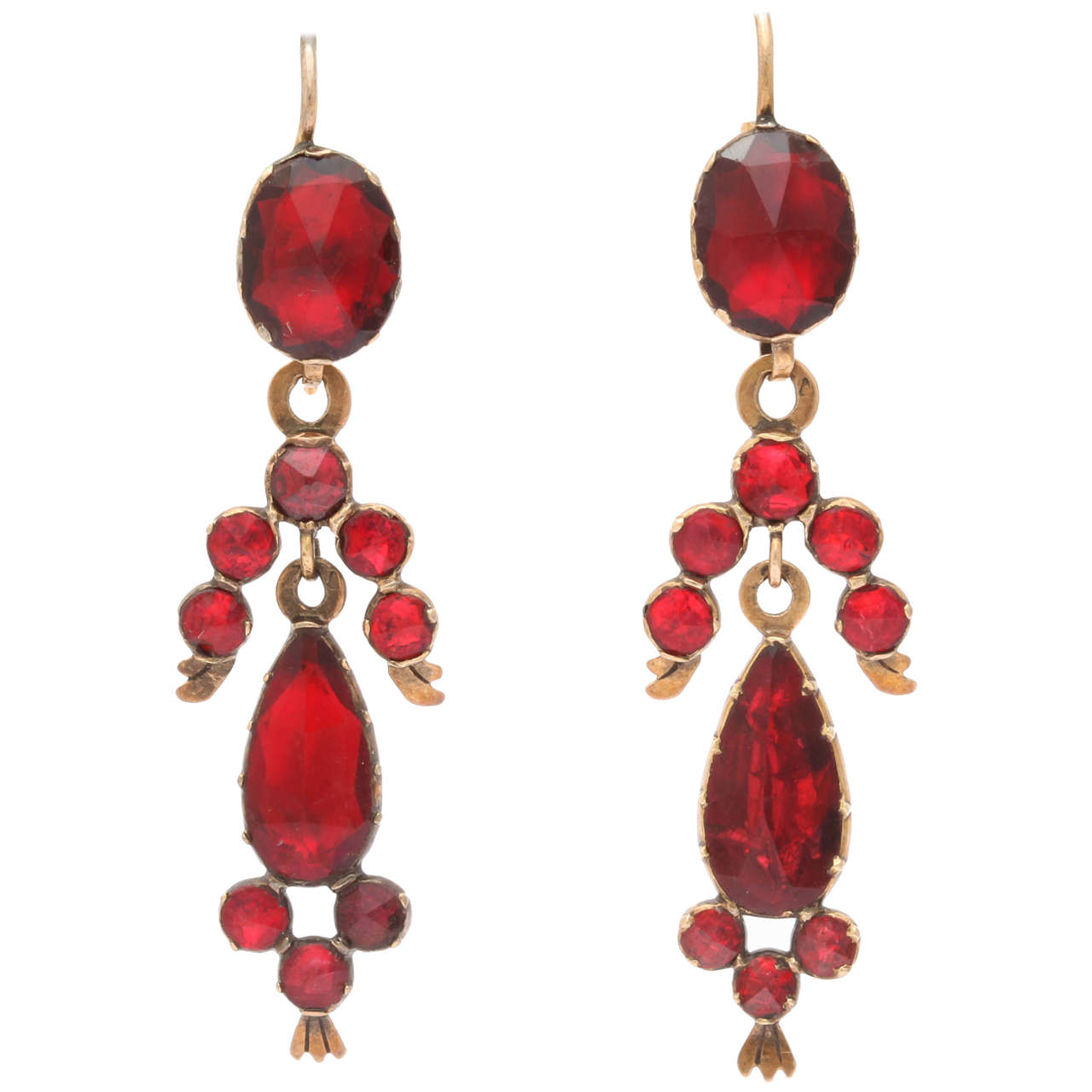 French Perpignan Garnet Earrings, the Excitement of Color