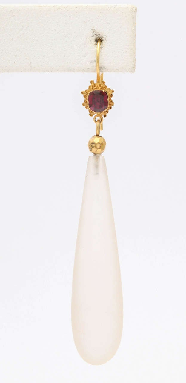 Victorian Par Elegance Garnet and Chalcedony  Chandelier Earrings For Sale