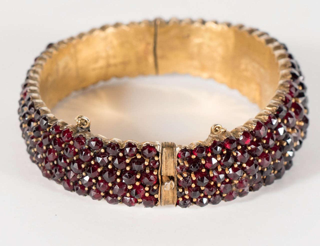 Exquisite Antique Bohemian Garnet Silver Gold Bangle Bracelet 2