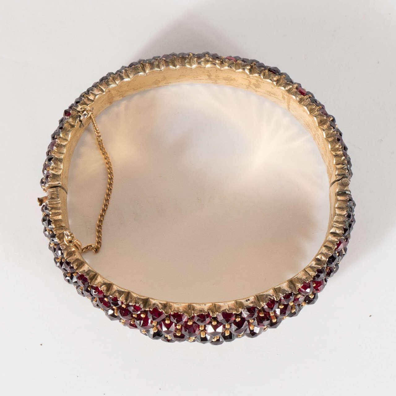 Exquisite Antique Bohemian Garnet Silver Gold Bangle Bracelet 3