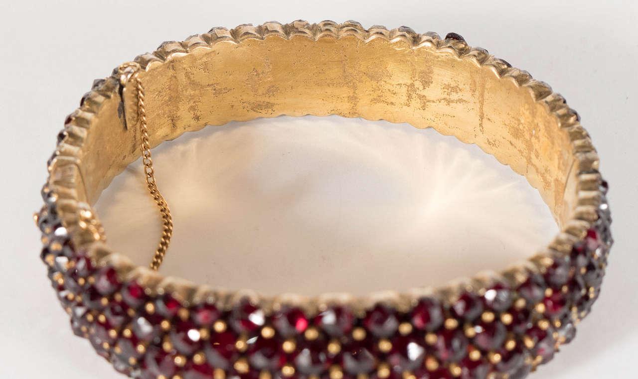 Exquisite Antique Bohemian Garnet Silver Gold Bangle Bracelet 4