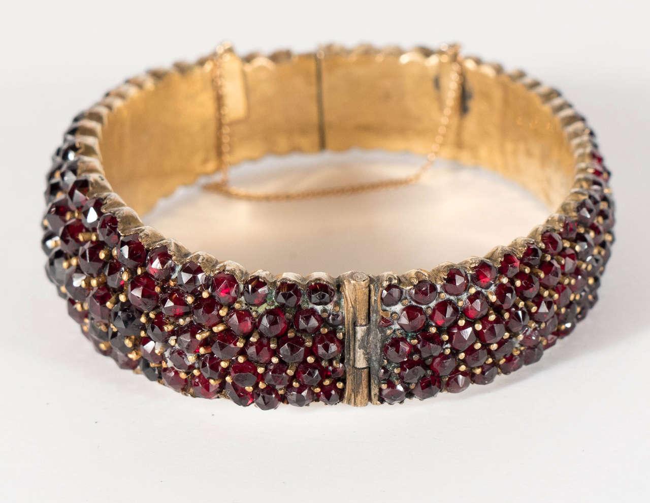Exquisite Antique Bohemian Garnet Silver Gold Bangle Bracelet 5