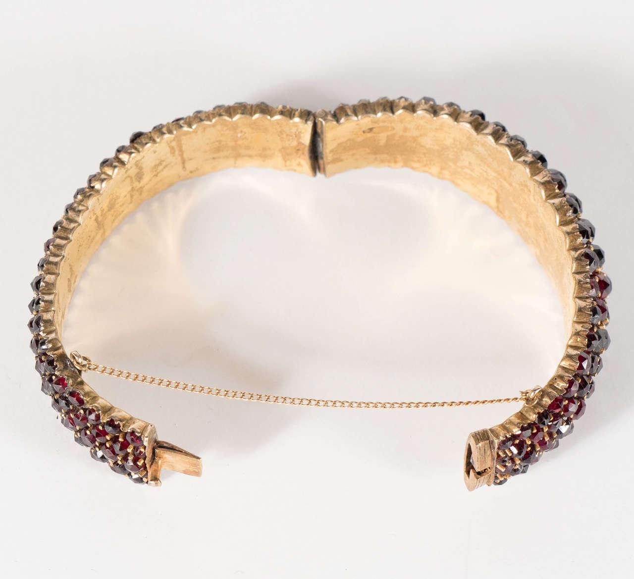 Exquisite Antique Bohemian Garnet Silver Gold Bangle Bracelet 6