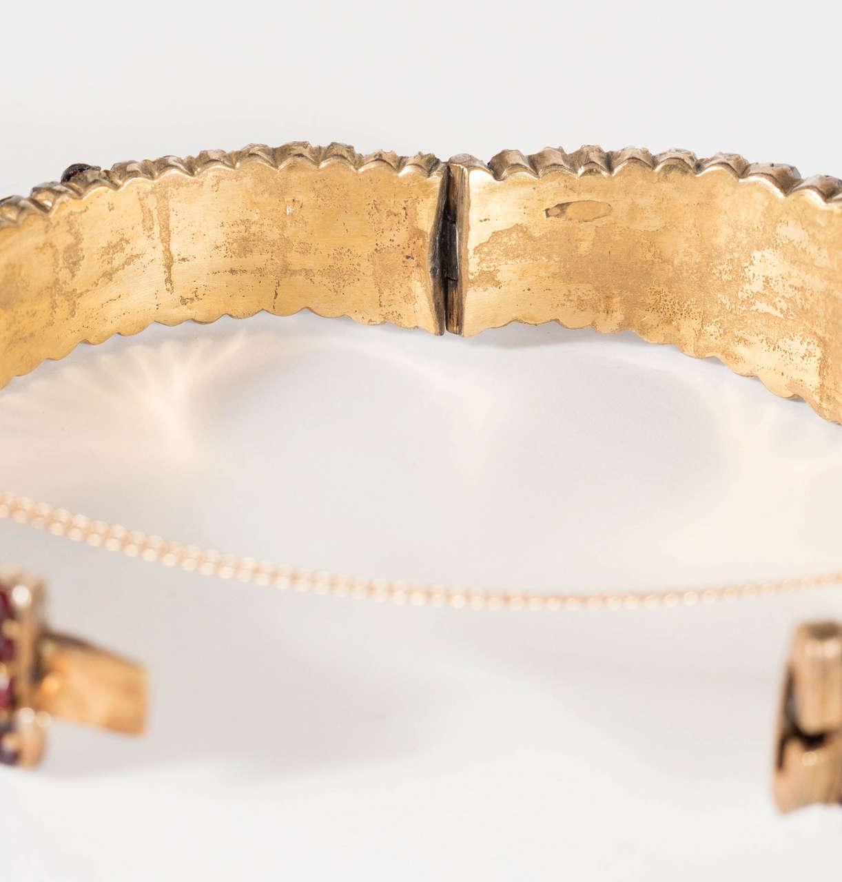Exquisite Antique Bohemian Garnet Silver Gold Bangle Bracelet 7