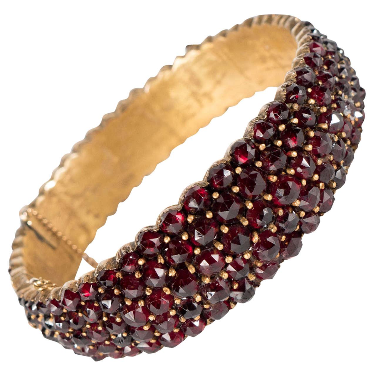 Exquisite Antique Bohemian Garnet Silver Gold Bangle Bracelet 1